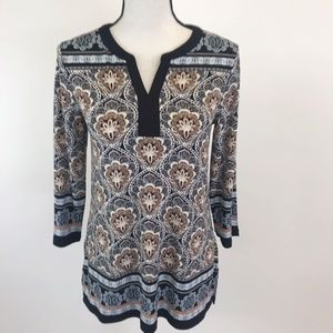 NWT Charter Club Boho Print Top S